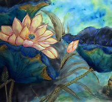 Lotus and frog morning by Rosalind Clarke