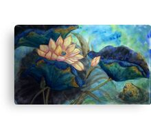 Lotus and frog morning Canvas Print