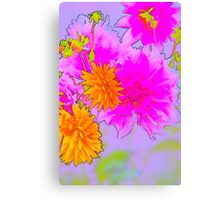Hot Pink & Gold Floral Canvas Print