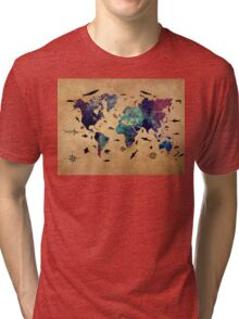 Map of the world atlas Tri-blend T-Shirt