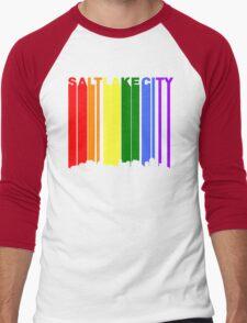 Salt Lake City Utah Gay Pride Rainbow Skyline Men's Baseball ¾ T-Shirt