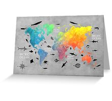 Map of the world grey Greeting Card