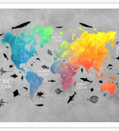 Map of the world grey Sticker