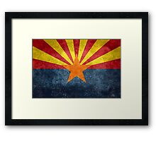 State flag of Arizona, with vintage retro style treatment Framed Print