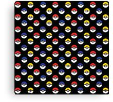 Team Poke Ball Pattern - Black Canvas Print