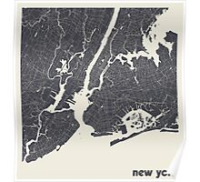 Minimal Maps - New York - Dark Poster