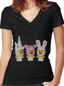 Adorable Baby Animals Women's Fitted V-Neck T-Shirt