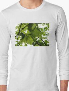 Green Summer Rain with Grape Leaves Long Sleeve T-Shirt