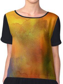 Orange Watercolor Chiffon Top