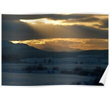 Moody Sunset Over Cairngorm Mountains Poster