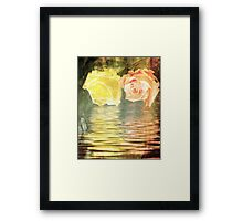 A painting of two Roses and their reflection in water with copy space. Framed Print