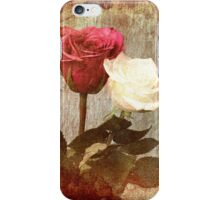 A painting of two Roses and their reflection in water with copy space. iPhone Case/Skin