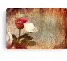 A painting of two Roses and their reflection in water with copy space. Canvas Print