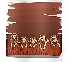 Five Lions in a Bed Poster