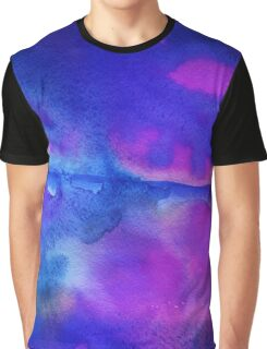 Blue and Purple Watercolor Graphic T-Shirt