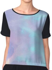 Light Purple and Blue Watercolor Chiffon Top