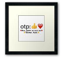 otp: *thumb emoji* *heart emoji* with text Framed Print