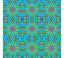 Mandala With Red Aqua And Yellow - Tiled Photographic Print