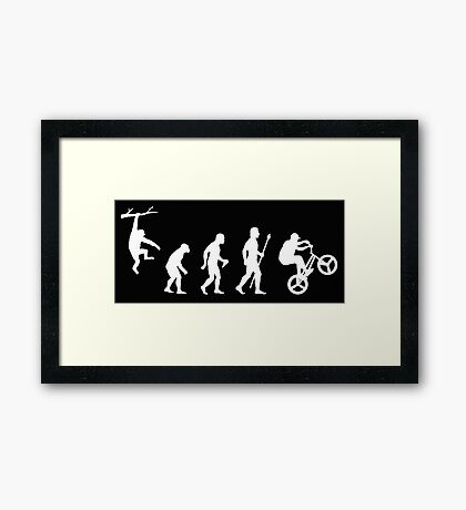 Funny BMX Stunts Evolution Silhouette Framed Print