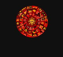 Skull Mandala in Orange and Red Womens Fitted T-Shirt