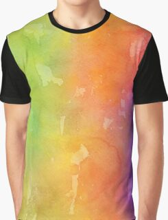Green, Yellow, Orange and Purple Watercolor Graphic T-Shirt