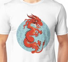 Red Dragon on Teal Unisex T-Shirt