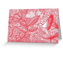 Red Paisley Garden Greeting Card