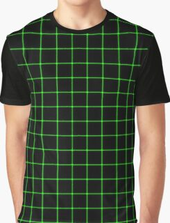 Matrix Optical Illusion Grid in Black and Neon Green V2 Graphic T-Shirt