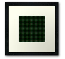 Matrix Optical Illusion Grid in Black and Neon Green Small Framed Print