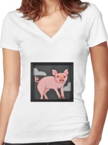 Moody Little Pig Women's Fitted V-Neck T-Shirt