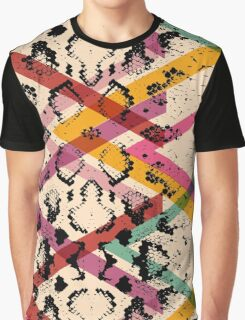 Colourful Snake Skin Texture Graphic T-Shirt