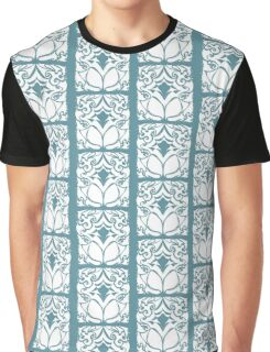 Pattern Series: White and Teal Swirl Graphic T-Shirt