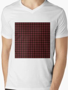 Martix Optical Illusion Grid in Black and Red Mens V-Neck T-Shirt