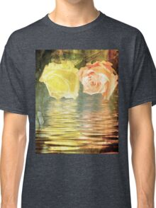 A painting of two Roses and their reflection in water with copy space. Classic T-Shirt