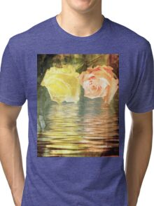A painting of two Roses and their reflection in water with copy space. Tri-blend T-Shirt