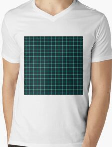 Martix Optical Illusion Grid in Black and Neon Aqua Mens V-Neck T-Shirt