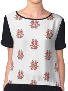 Chinese Wedding Spring Flowers Double Happiness Symbol Chiffon Top