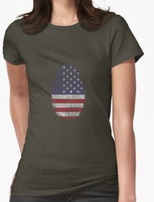 Vintage USA Finger print Womens Fitted T-Shirt