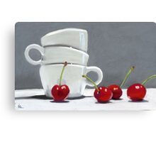 Cherries and Coffee cup Canvas Print