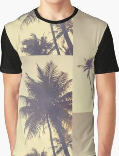 Coconut Trees Trendy Hipster Vintage Desaturated Summer Graphic T-Shirt