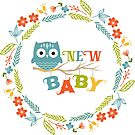 New baby colorful Text With Cute Cartoon Owl by artonwear
