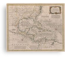 Vintage Map of The Caribbean (1720) Canvas Print