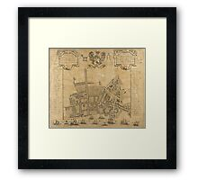 Vintage Map of Liverpool England (1725) Framed Print