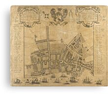 Vintage Map of Liverpool England (1725) Canvas Print