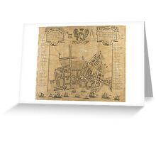 Vintage Map of Liverpool England (1725) Greeting Card
