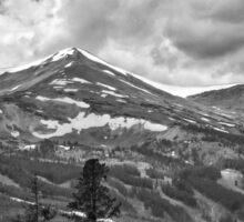 Breckenridge Ski Slopes in black and white Sticker