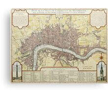 Vintage Map of London England (1727) Canvas Print