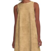Pale Gold Oil Pastel Color Accent A-Line Dress