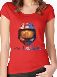 Red vs Blue Helmet with Logo Women's Fitted Scoop T-Shirt
