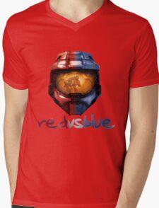 Red vs Blue Helmet with Logo Mens V-Neck T-Shirt